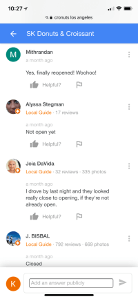 Screen shot of Google Reviews